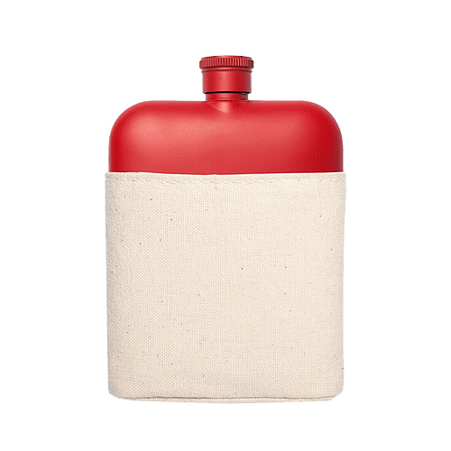 Flask with Canvas Carrier, Red-0