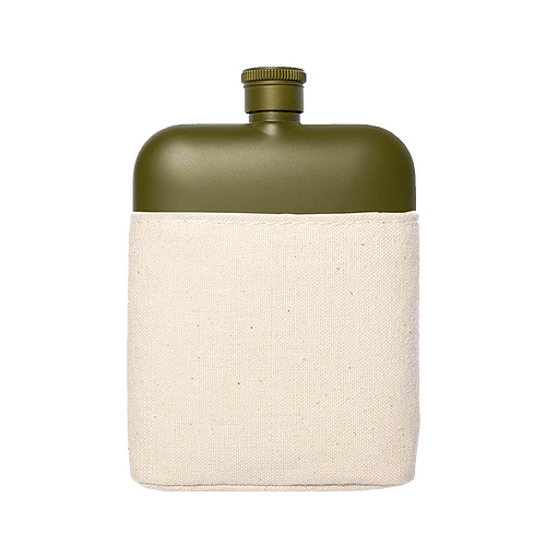 Flask with Canvas Carrier, Army Green-0