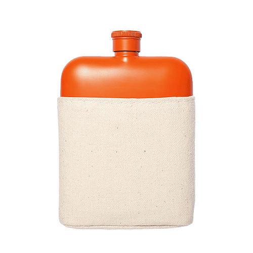 Flask with Canvas Carrier, Orange-0
