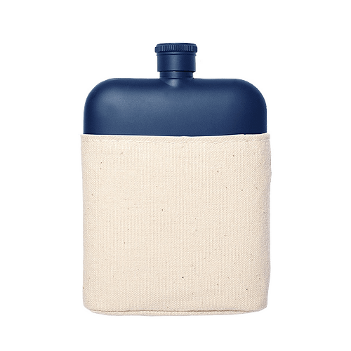 Flask with Canvas Carrier, Navy-0